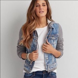 American Eagle denim jacket with hoodie